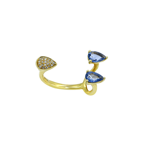 Blue sapphire and diamond gold open ring