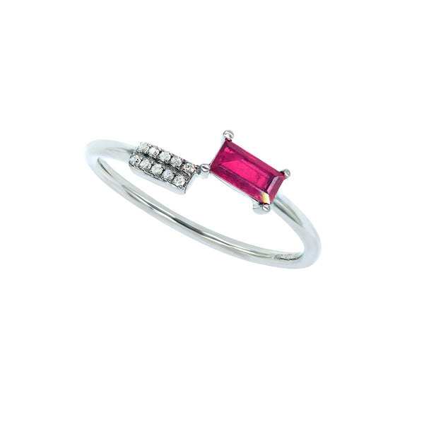 Diamond Ruby Delta Ring