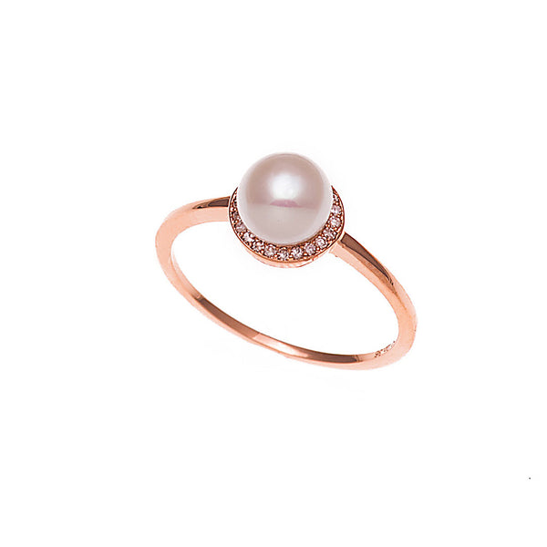 Diamond Encircled Pearl Ring