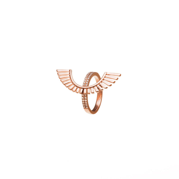 Gold and Diamond Ring. Rose Gold Ring