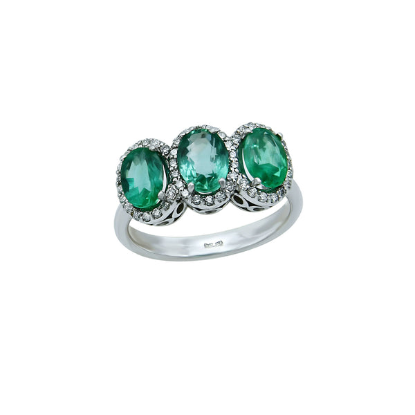 Triple Oval Emerald Ring