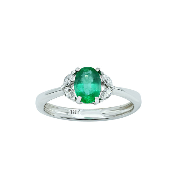 White Gold ring with Oval emerald surrounded by oval diamonds