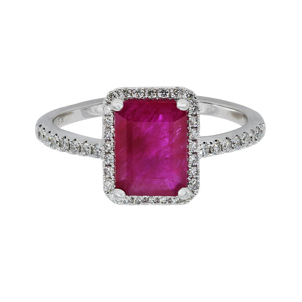 Emerald Cut Ruby Ring