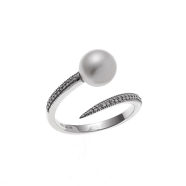 Pearl and Diamond Twist Ring