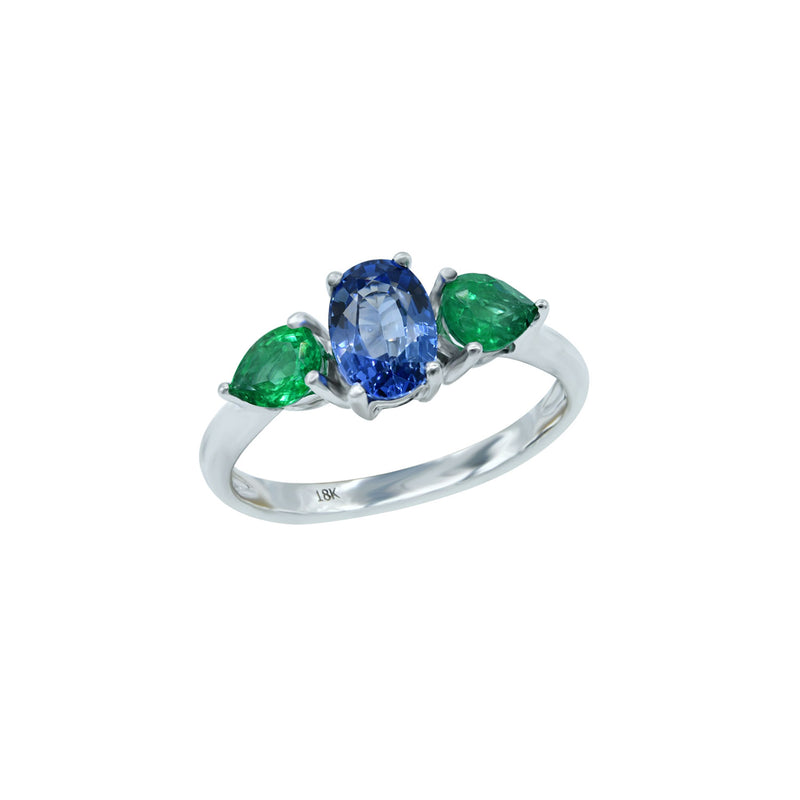 Green and Blue ring in 18k gold