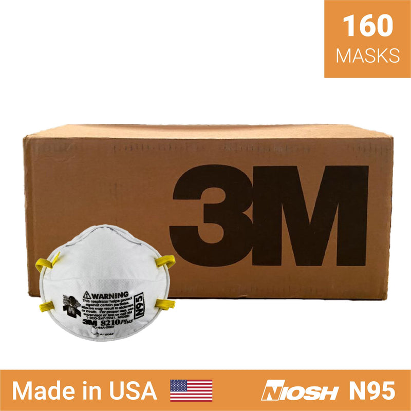 3M 8210 Plus respirator | N95 respirator x 160 | NIOSH - Clinical Supplies USA