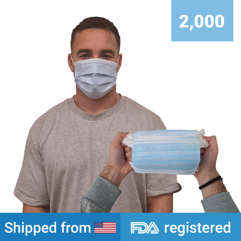 3-ply Disposable Masks | 2,000 masks - Clinical Supplies USA
