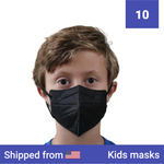 10x Kids KN95 masks - Color: Black