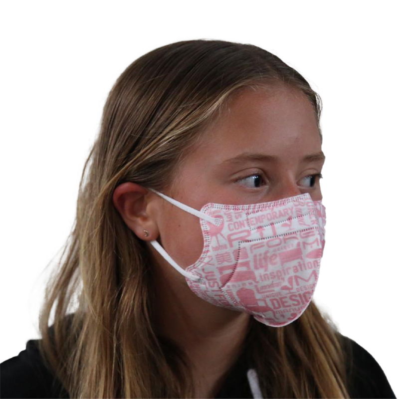 40x Kids KN95 masks | Color: Pink pattern - Clinical Supplies USA
