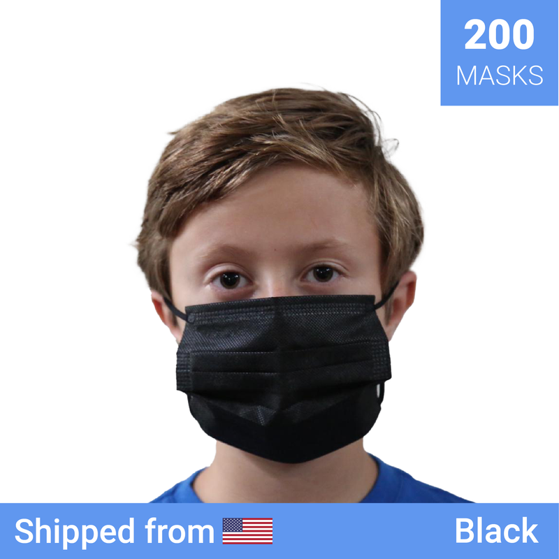 200x Kids disposable masks | Color: Black - Clinical Supplies USA