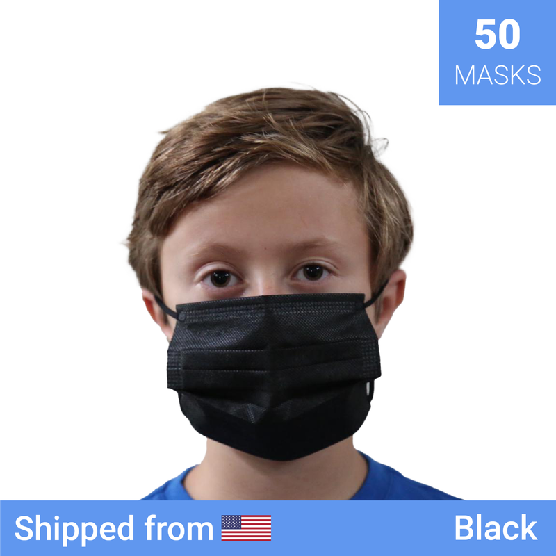 50x Kids disposable masks | Color: Black - Clinical Supplies USA