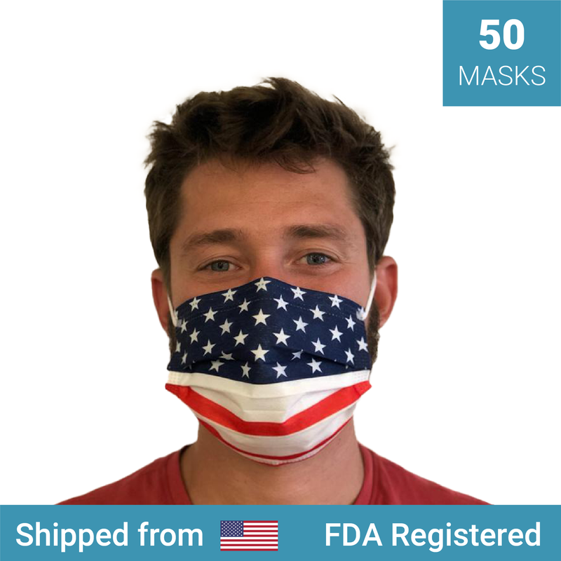USA Flag Disposable Masks | 50 masks - Clinical Supplies USA