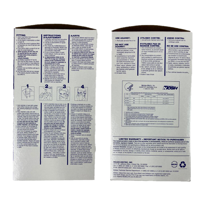 Moldex 2200 large sized mask | N95 mask x 20 | NIOSH - Clinical Supplies USA