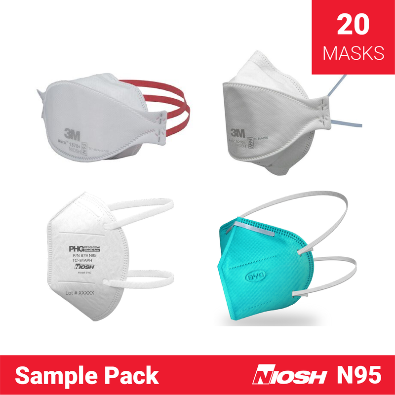 The N95 Mask Sample Pack | 5x 3M 1870, 5x 3M 9205, 5x BYD, 5x PHG - Clinical Supplies USA