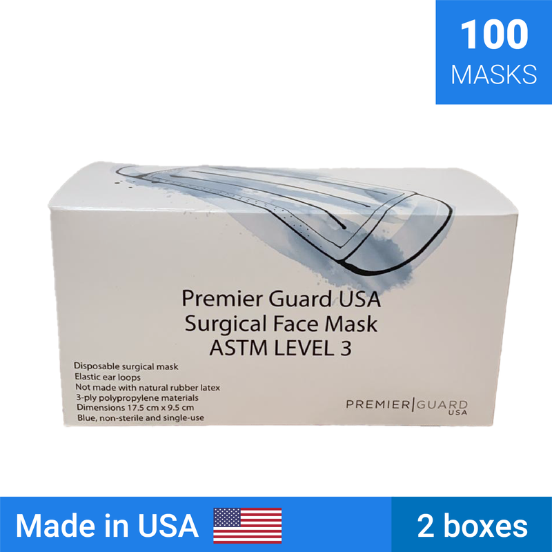 Level 3 Surgical Masks | Made in the USA | 100 masks - Clinical Supplies USA