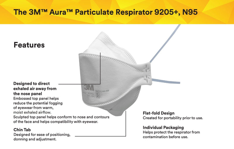3M 9205+ mask | N95 mask x 100 | NIOSH - Clinical Supplies USA
