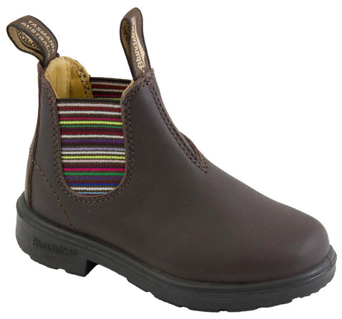Blundstone 1413 Kids Blunnies Brown with Striped Elastic