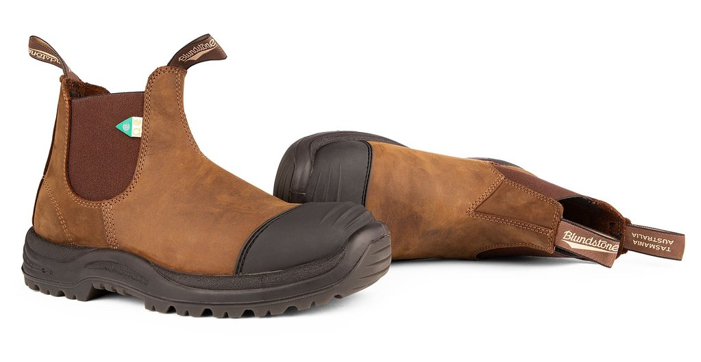 Blundstone 169 - Work & Safety Boot Rubber Toe Crazy Horse Brown