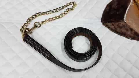"Brighton 3/4"" x 6' Leather Lead with 24"" Brass Plated Chain"