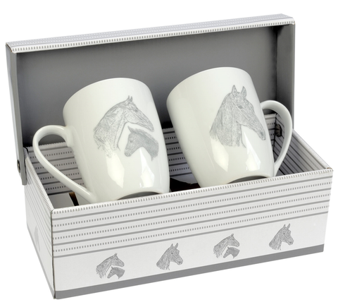 Set of 2 Ceramic Mugs - Mare & Foal