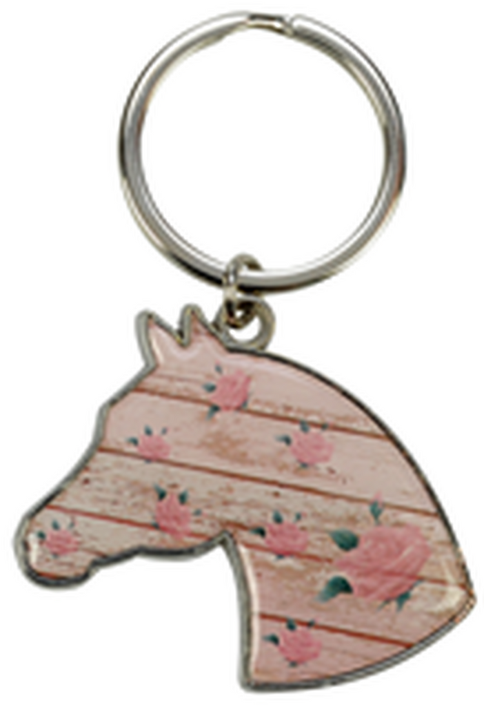 Horse Head with Roses Keychain