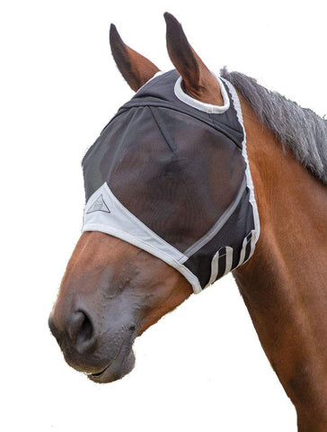 Shires Fine Mesh Fly Mask, with Ear Holes - Black