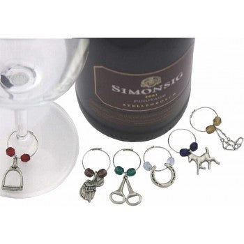 EQUINE EQUESTRIAN COLOURED WINE GLASS CHARMS, BOX/6