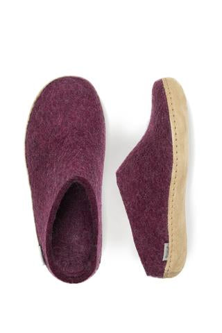 GLERUPS SLIPPER (Open Heel) Leather Sole - Cranberry