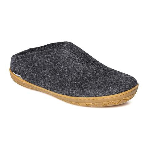 Glerups Slipper (Open Heel) Natural Rubber Sole - Charcoal