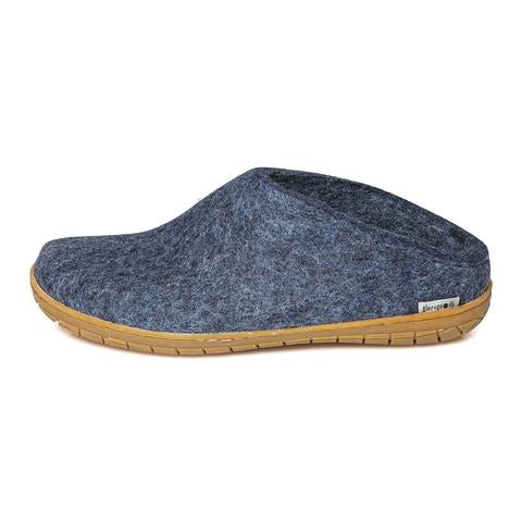 Glerups Slipper Natural Rubber Sole - Denim