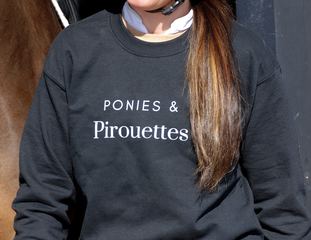 Laced Reins Equestrian - Ponies & Pirouettes Crewneck: Black