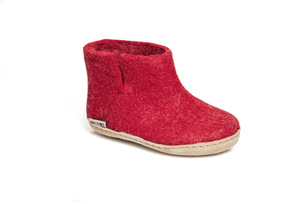 Glerups Kids Boots Leather Sole - Red
