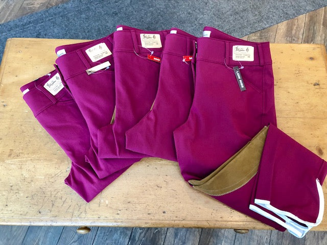 TAILORED SPORTSMAN TROPHY LOW RISE FRONT ZIP CLARET WITH TAN KNEE PATCH