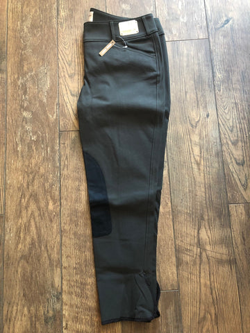 Tailored Sportsman Trophy Low Rise Front Zip - Black Olive with Black knee patch
