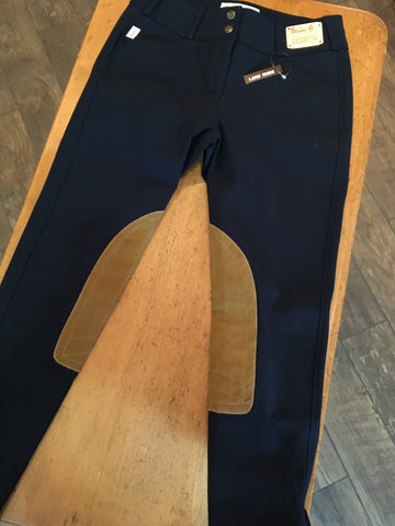 TAILORED SPORTSMAN TROPHY LOW RISE 1967 FRONT ZIP BLACK & BLUE TAN PATCH BREECHES