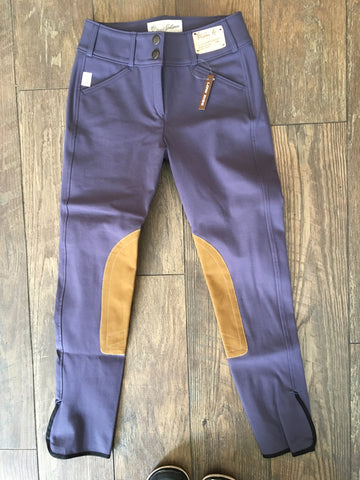 Tailored Sportsman Trophy Low Rise 1967 Breeches Front Zip Purple Heart with Tan Patch
