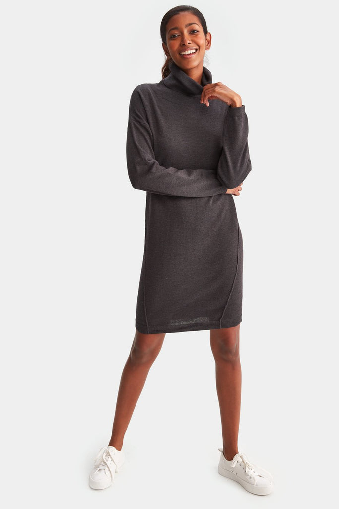 LOLE COZY DRESS - BLACK HEATHER