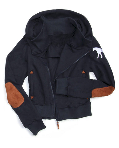 Spiced Equestrian Cuddle Hoodie III - NAVY