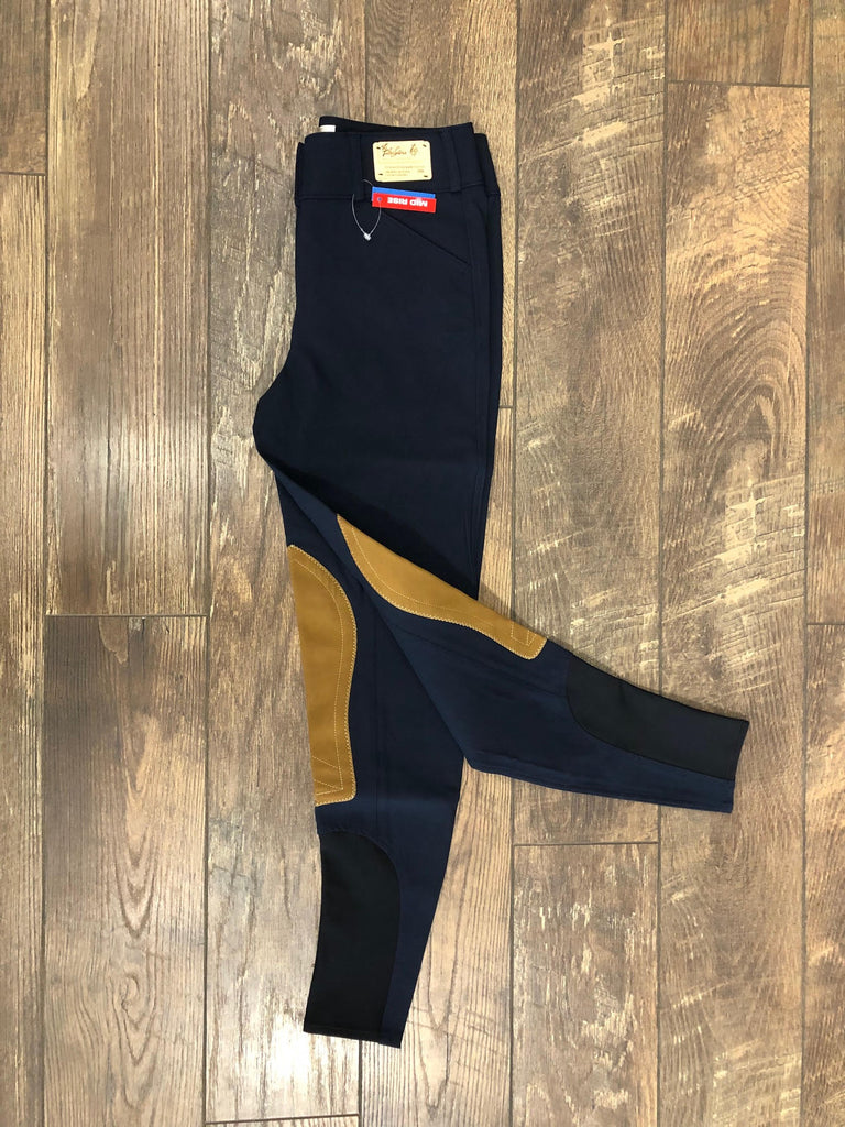 Tailored Sportsman #1923 Boot Sock Midrise Front Zip Black&Blue with Tan Patch