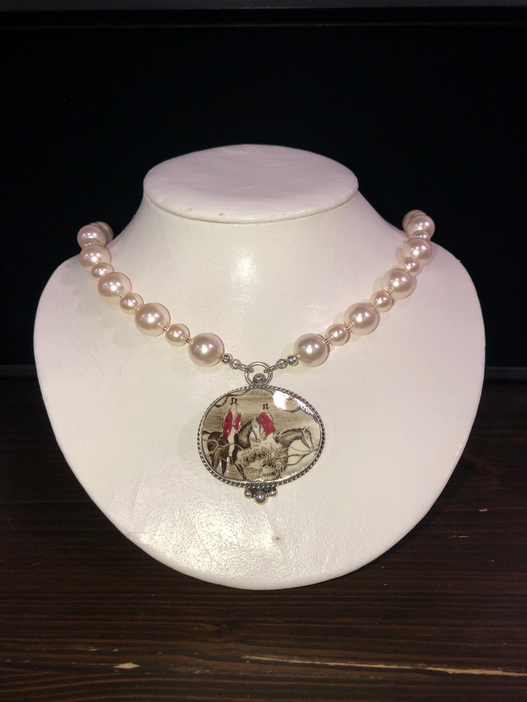 Horsefeathers California Style Pearl Necklace with Medium China Pendant