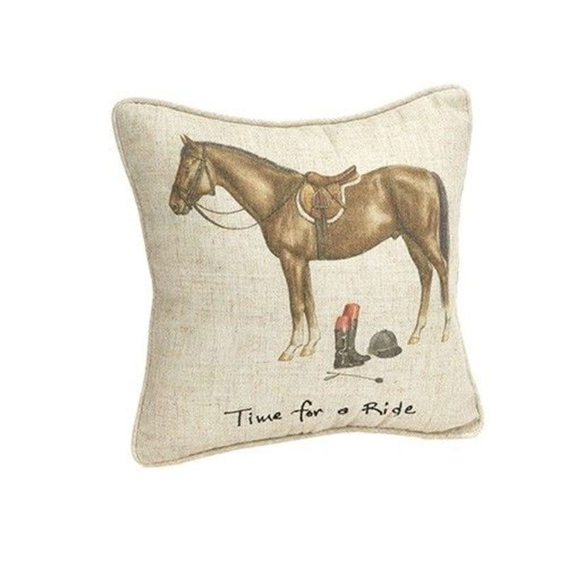 "Linen Cushion - ""Time For A Ride"""