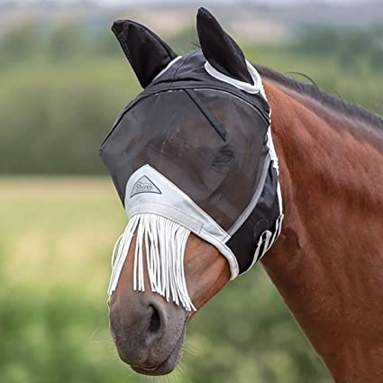 Shires Fine Mesh Fly Mask With Fringe & Ears - Black/Grey