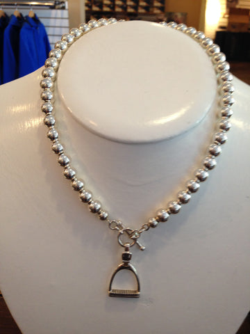 HORSEFEATHERS SILVER BALL NECKLACE WITH LARGE STIRRUP AND TOGGLE
