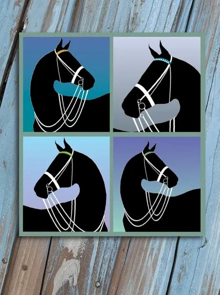 Horse Hollow Press Thank You Card - Black Horse in Double