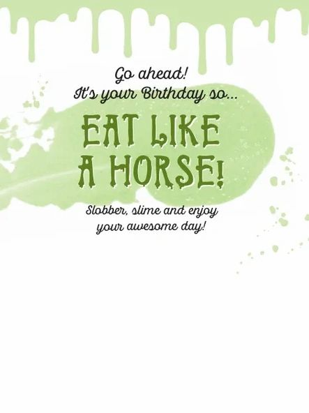 Horse Hollow Press Birthday Card - Horse Drooling Green Slime