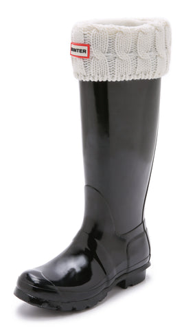 Hunter Boot 6 Stitch Cable Knit Cuff Tall Boot Socks: Natural White