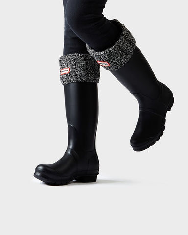 Hunter Original Six-Stitch Cable Tall Boot Socks - Grey/Black