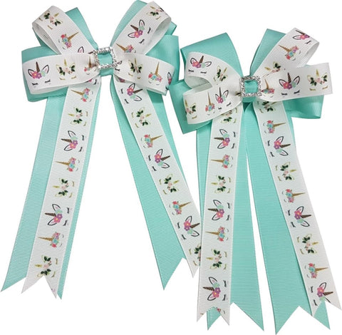 Adilize Designs Show Bows - Aqua Unicorns