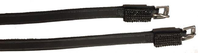 Exselle Leather Spur Straps with Black Crystal Keepers