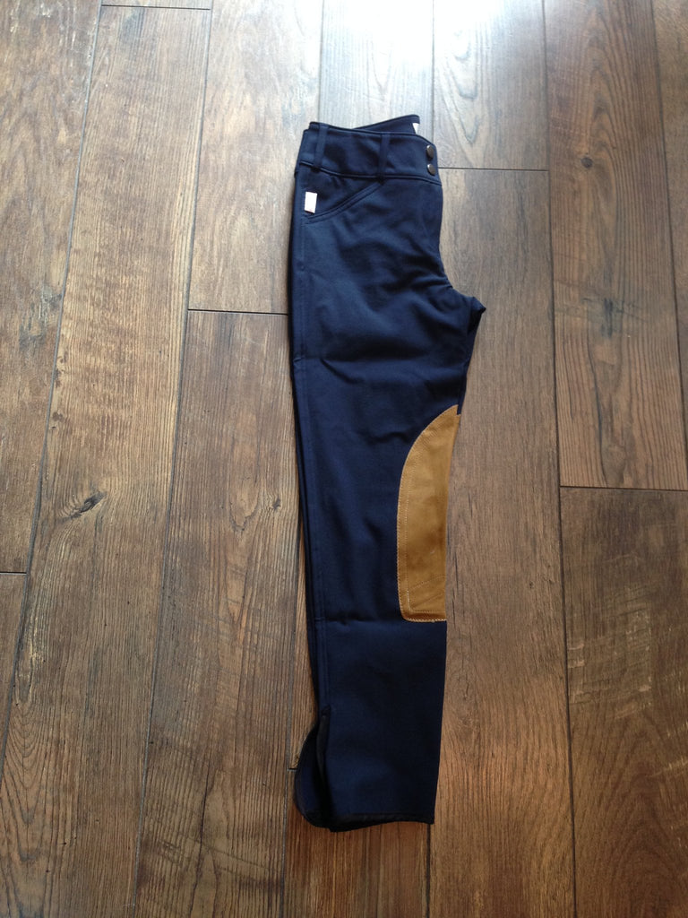 Tailored Sportsman Trophy Hunter Breeches #1963 - Black&Blue with Tan Patch